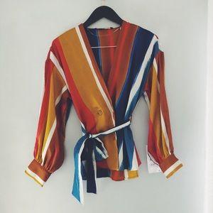 BRAND NEW Zara striped satin top w/tie detail sz S